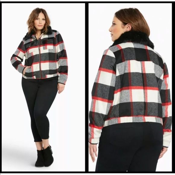 eb4c8890d03 Torrid Size 1 Red Plaid Bomber Jacket Faux Fur